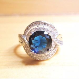 """Jewelry - SALE! Sterling Silver """"Sapphire"""" Blue CZ Pave Ring"""